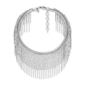 Rhodium Plated Flex Cuff with Dangling Beaded Strands