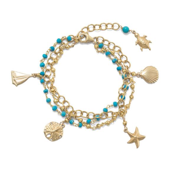 3 Strand 14K Gold Plated Bracelet with Nautical Charms and Reconstituted Turquoise