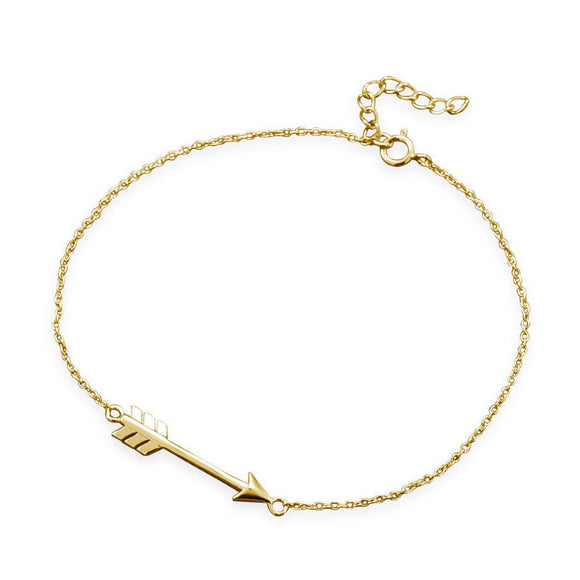 14 Karat Gold Plated Aim High Arrow Bracelet