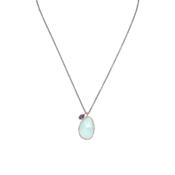 Two Tone Chalcedony and Iolite Drop Necklace