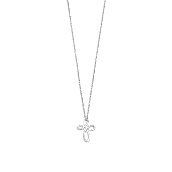 Rhodium Plated Open Design Cross Necklace with Diamonds