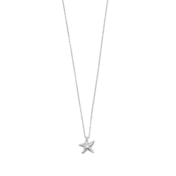 Rhodium Plated Starfish Necklace with Diamond