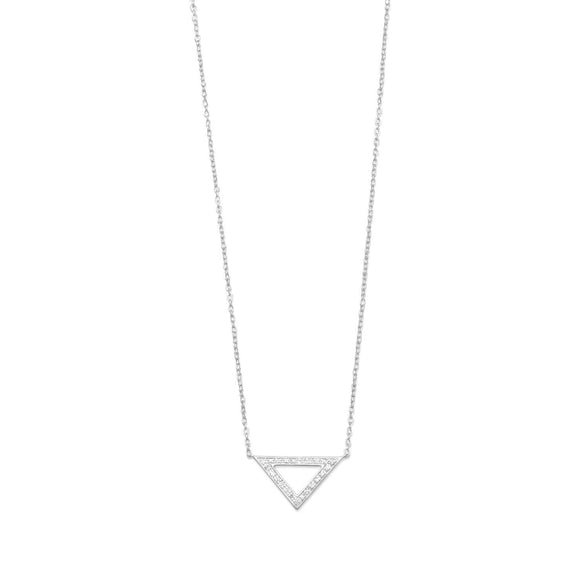 Rhodium Plated Open Triangle Necklace with Diamonds