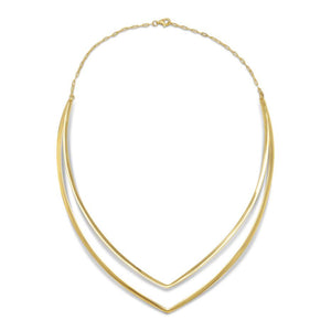 "14 Karat Gold Plated Double ""V"" Collar"
