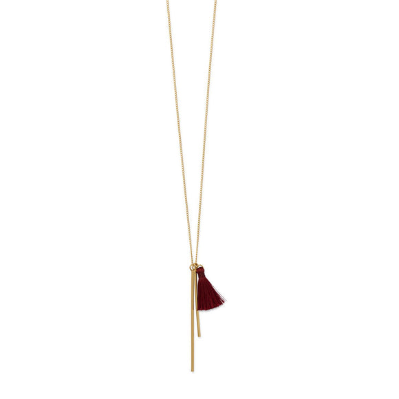 14 Karat Gold Plated Necklace with Double Bar and Tassel Drop