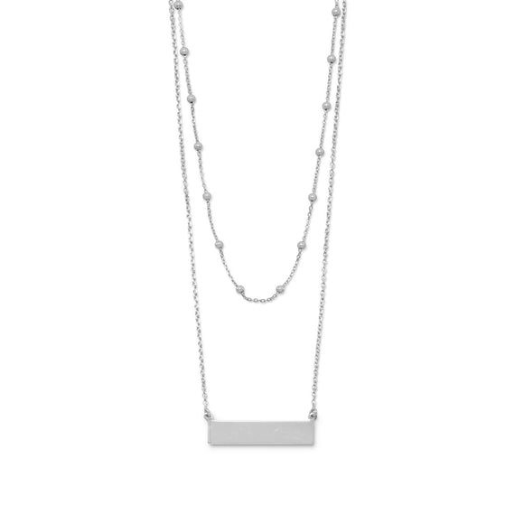 Rhodium Plated Double Strand Engravable Bar Necklace