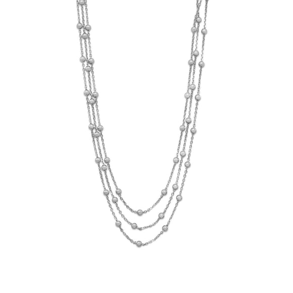 Rhodium Plated 3 Strand Satellite Chain Choker