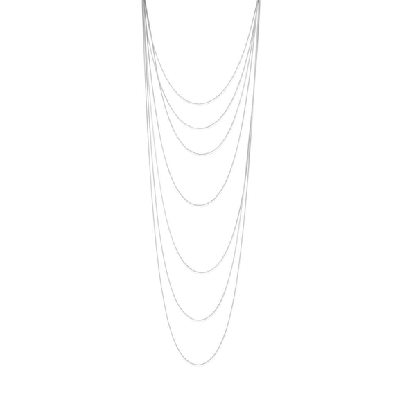 Rhodium Plated Long Graduated 7 Strand Necklace