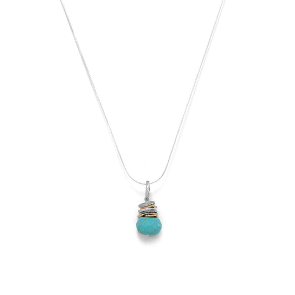 Two Tone Hammered Ring and Faceted Turquoise Drop Necklace