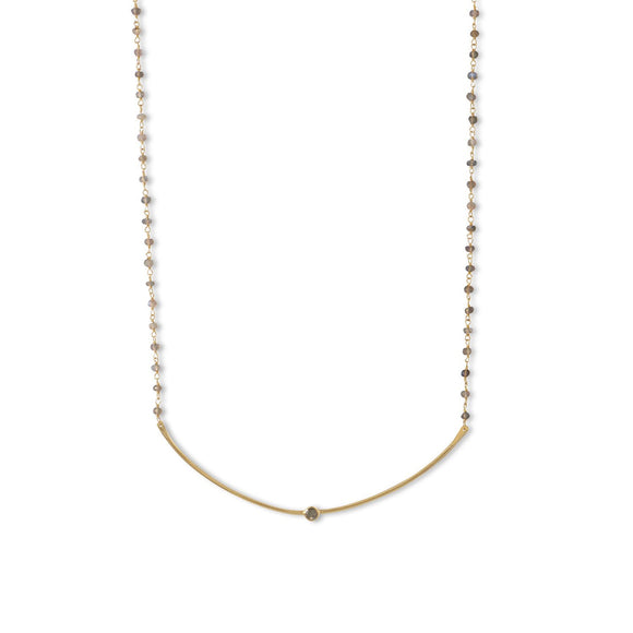 14 Karat Gold Plated Labradorite Bead and Curved Bar Necklace
