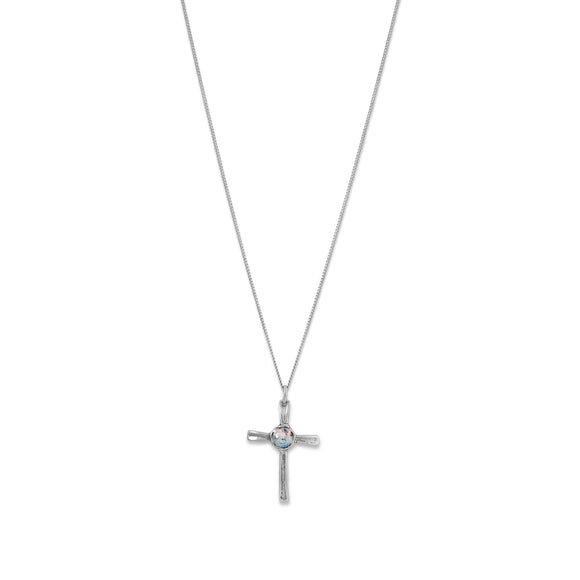 Oxidized Roman Glass Cross Pendant Necklace