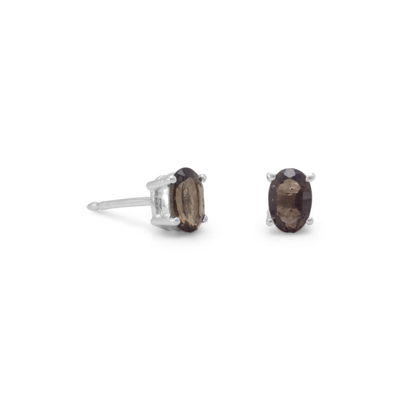 Smoky Quartz Stud Earrings