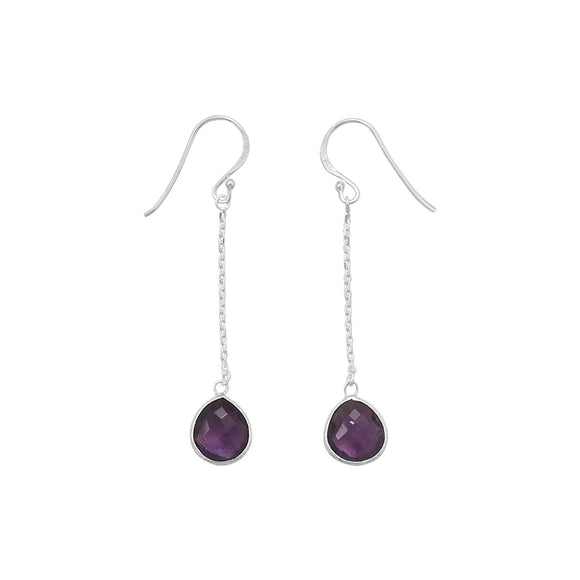 Amethyst Chain Drop Earrings