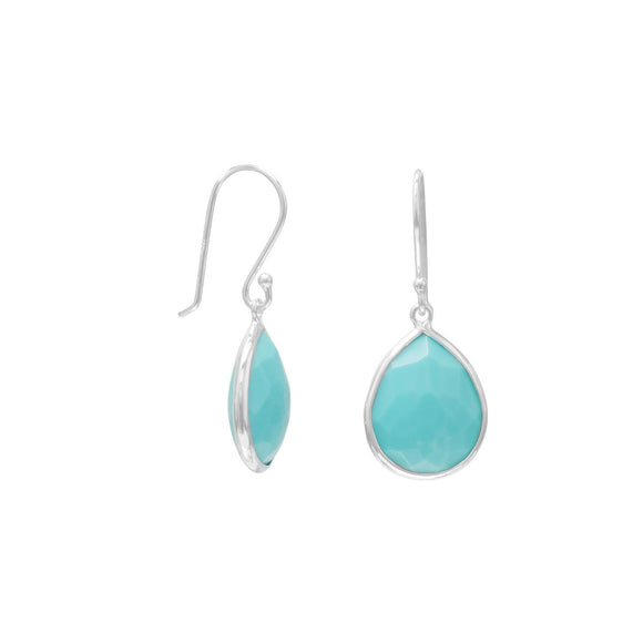 Pear Shape Freeform Faceted Turquoise Drop Earrings