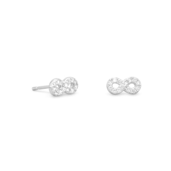 Rhodium Plated CZ Infinity Earrings