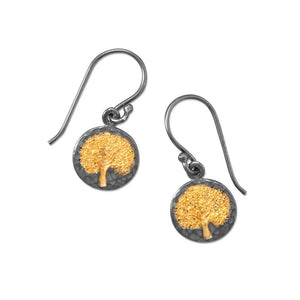 Two Tone Earrings with Tree Design