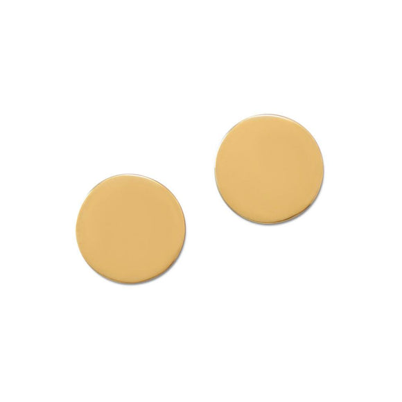 Polished 14 Karat Gold Plated Engravable Post Earrings