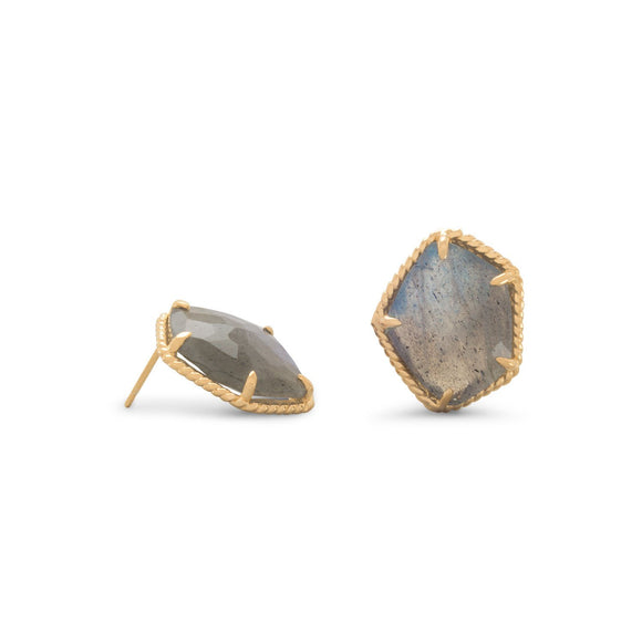 14 Karat Gold Plated Labradorite Earrings