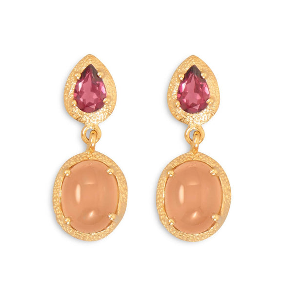 14 Karat Gold Plated Rhodolite Garnet and Moonstone Drop Earrings