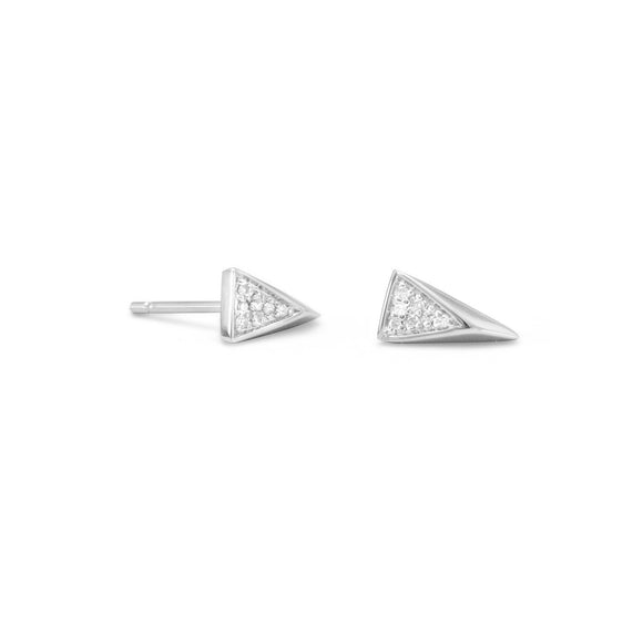 Rhodium Plated Small Triangle Earrings with Diamonds