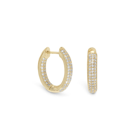 14 Karat Gold Plated CZ In/Out Hoop Earrings