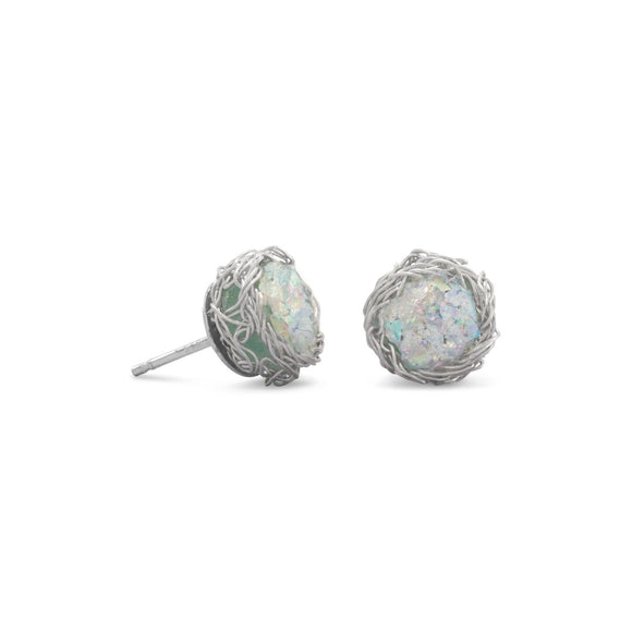 Round Ancient Roman Glass Stud Earrings with Woven Wire Mesh