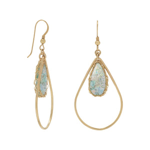 Gold Filled Ancient Roman Glass Pear Drop Earrings with Woven Wire Mesh