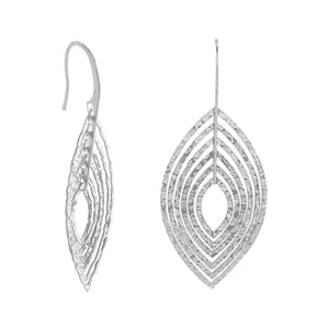Rhodium Plated 3D Marquise Shape Earrings