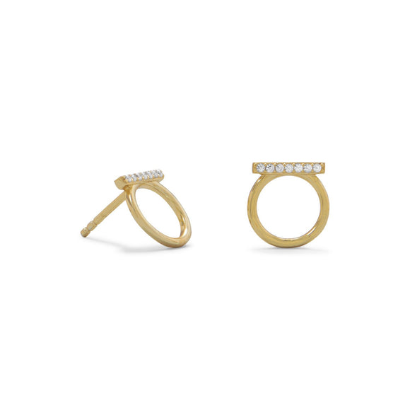 18 Karat Gold Plated CZ Bar and Circle Studs