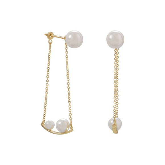 18 Karat Gold Plated Imitation Pearl Front Back Swing Earrings