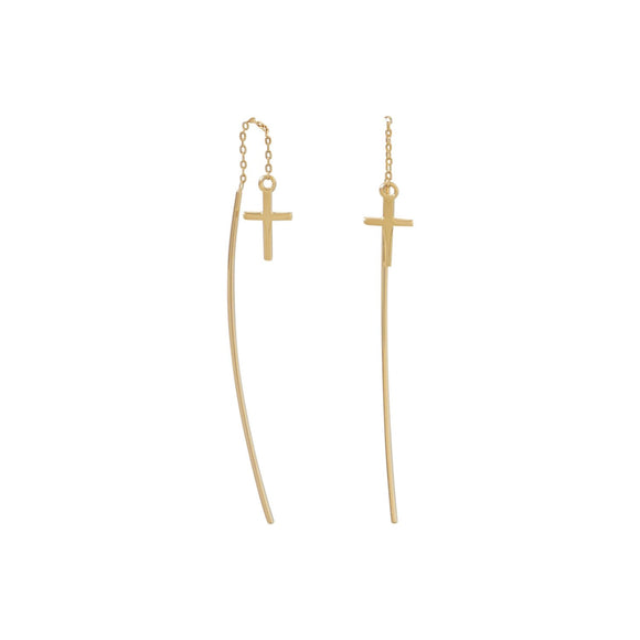 18 Karat Gold Plated Cross Threader Earrings