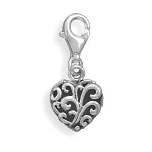 Heart Charm with Lobster Clasp