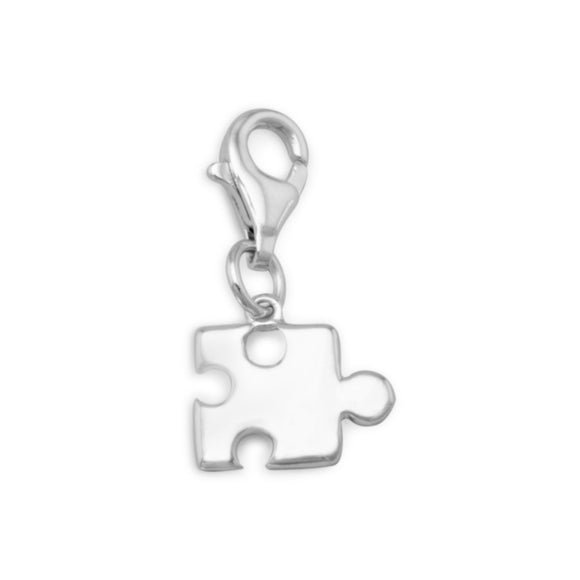 Rhodium Plated Puzzle Piece Charm with Lobster Clasp