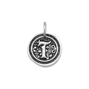 "Oxidized Initial ""T"" Pendant"