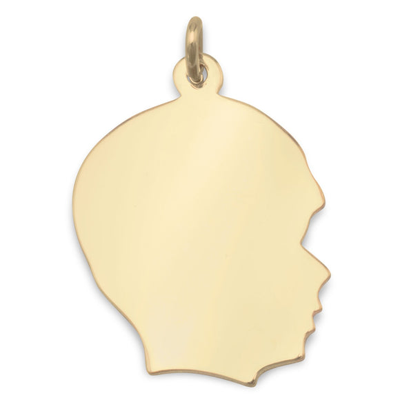 14/20 Gold Filled Engravable Boy's Silhouette Pendant