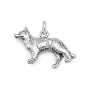 Oxidized German Shepherd Charm