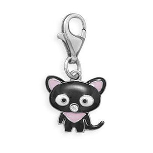 Rhodium Plated Cat Charm with Lobster Clasp