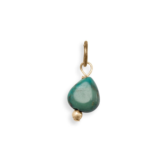 14/20 Gold Filled Reconstituted Turquoise Nugget Charm - December Birthstone