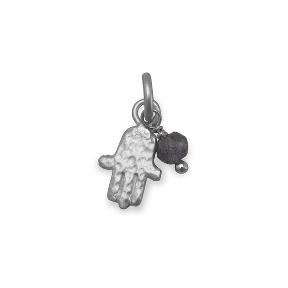 Rhodium Plated Hamsa Charm with Labradorite