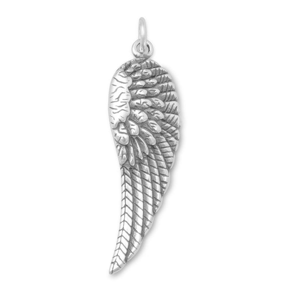 Oxidized Angel Wing Charm