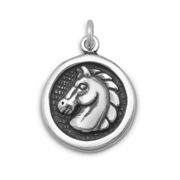 Oxidized Disc Charm with Horse Profile