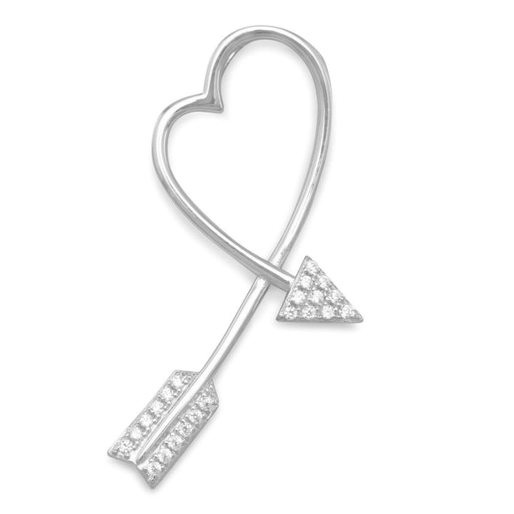 Rhodium Plated CZ Arrow Heart Slide