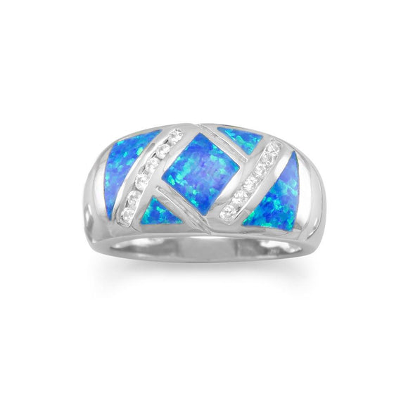 Synthetic Blue Opal and CZ Ring