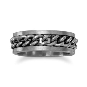 Stainless Steel Ring with Curb Chain Center