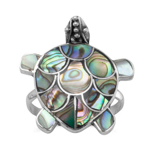 Paua Shell Turtle Ring