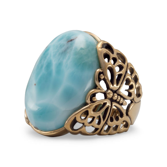 Bronze Larimar Butterfly Ring
