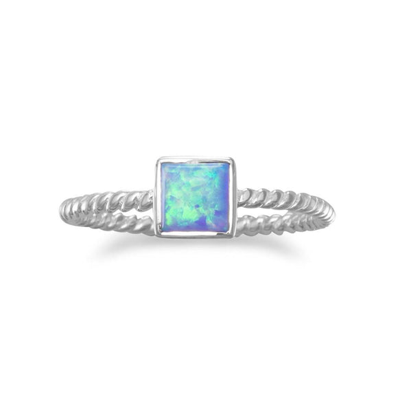 Square Synthetic Opal Ring