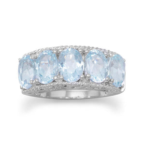 Five Stone Blue Topaz Ring