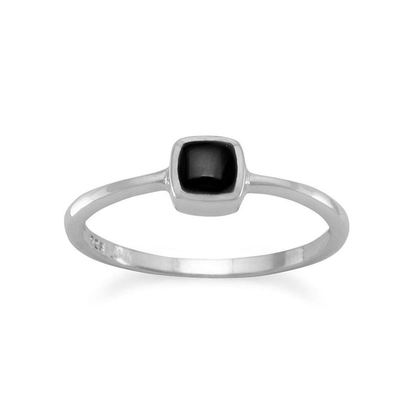 Square Black Onyx Inlay Ring