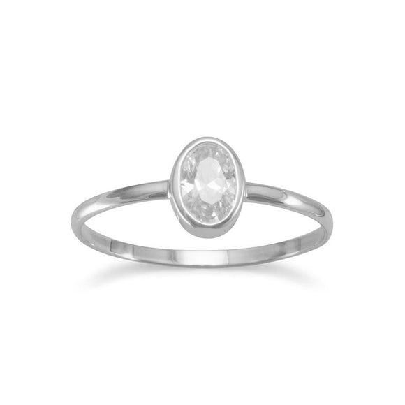 Oval Clear CZ Ring